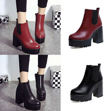 WOMENS LADIES CHELSEA ANKLE BOOTS CHUNKY PLATFORMS BLOCK HIGH HEELS ZIPPER SHOES