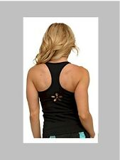 Womens Activwear Black Flower Cutout Gym Top by Equilibrium Activewear New NWT