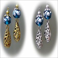Earrings, Teal lampwork and filigree lace, choose style and clip on or pierced
