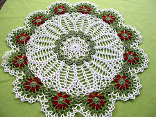 Thread Crocheted Flower Doily Tablecloth Centerpiece White Lace  Mat 16.5 in