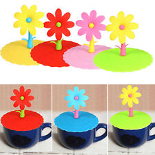 Silicone Flower Leakproof Coffee Mug Suction Lid Cap Airtight Sealed Cup Cover
