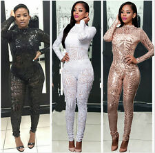 New Sexy Womens Geometric Sequins Long Sleeve Bodycon Jumpsuit Rompers ClubWear