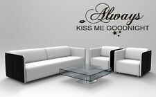 Kiss Me Goodnight Wall Sticker Romantic Inspired Quote Vinyl Art Removable Decor