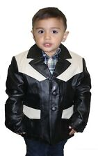 Kids genuine leather casual sports coat Buttons closure blazer Jacket Style# 369