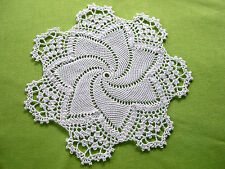 Thread Crocheted Doily Tablecloth Centerpiece White Lace Topper 11.5 in. Mat