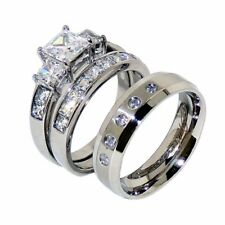 3 PCS Couple His 5 Clear CZs Band /Hers Princess Cut CZ Wedding 2 Rings Set