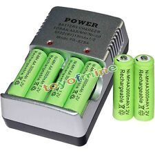 6 AA battery batteries Bulk Rechargeable NI-MH 3000mAh 1.2V Gre + Smart Charger
