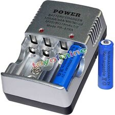 2 AA battery batteries Bulk Rechargeable NI-MH 3000mAh 1.2V Blu + Smart Charger