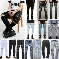 New Mens Classic Straight Slim Fit Jeans Distressed Ripped Pants Denim Trousers