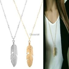 Women Feather Pendant Long Chain Necklace Sweater Statement Vintage Jewelry OK