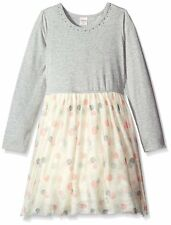 GYMBOREE Cozy Fairytale Girl Size 7 Dot Gem Mesh Tulle Tutu Dress Coral Gray NWT
