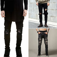 Men's Distressed Ripped Skinny Biker Jeans Pants Slim Fit Moto Denim Trousers