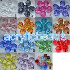 4-20MM Clear Plastic Round Cut Beads 32 Faceted Spacer Bead for Necklace Supply