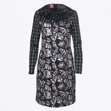SAVE THE QUEEN NS AW16 BLACK GREY FRINGED PRINT DRESS M,L