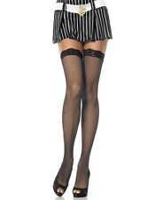 New Leg Avenue 9027 Black Fishnet Thigh High Stockings With Lace Top