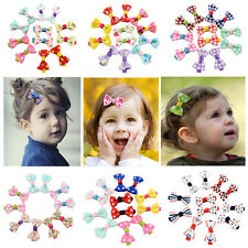 5Pair Girls Kids Candy Color Dot Flower Print Ribbon Bow Hairpin Hair Clips Top