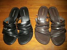 NEW PREDICTIONS BLACK BROWN STRAP WEDGE SANDALS DRESS SHOES WOMEN'S SZ 12 WIDE