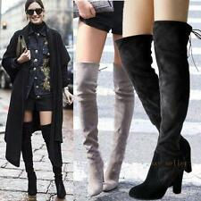Womens Stretchy Thigh High Suede Leather Heels Round Toe Over the Knee Boots New