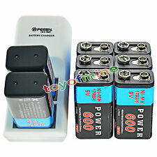 8x 9V 6F22 PPS Block 600mAh Ni-Mh Rechargeable Battery + Dual Batteries Charger