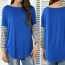 Women T-Shirt Splicing Long Sleeve Irregular Jumper Pullover Casual Tops Tee
