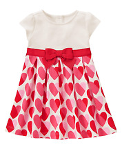 GYMBOREE Fun At Heart Baby Girl Pink Red Heart Knit A-line Dress Set Size 12-18M