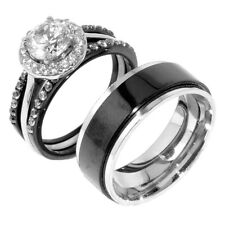 4 PCS Couple Hers Black Stainless Steel 3 Wedding Rings Set /Mens Spinning Band
