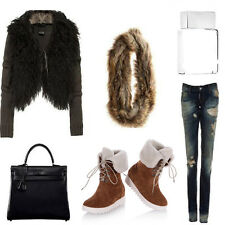 Fur Lined Ankle Flats Platform Snow Boots Lace UP Riding Winter Martin Shoes