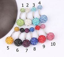 Surgical Steel Shamballa Disco Ball Belly Bar  Navel Ring - Choose Colour