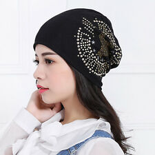 4 Colors Cotton Thick Beanie Zircon Eagle Skullcap Chic Lady Cap Warm Winter Hat