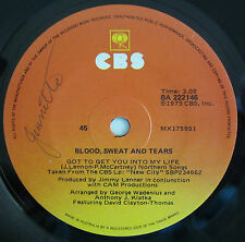 "BLOOD SWEAT & TEARS GOT TO GET YOU INTO MY.. ORIGINAL OZ RELEASE 7"" 45rpm RECORD"