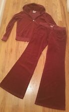 Juicy Couture BURGUNDY Velour tracksuit ***Hoodie Size XL **Pants Size M