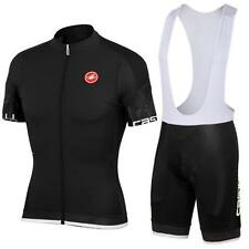 castelli BLACK Cycling Clothing Jersey & Bib Shorts Kit Sets Coolmax