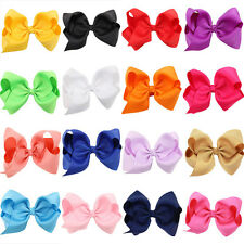 "4.7"" Big Hair Bows Boutique Girls Baby Alligator Clip Grosgrain Ribbon"