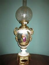 ANTIQUE VICTORIAN (1870) HINKS HAND PAINTED OIL LAMP WITH ETCHED GLASS SHADE