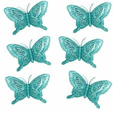 Luxury Christmas Tree Glitter Bauble Decorations - 3D Layered Butterfly x 6