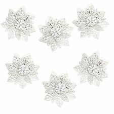Christmas Tree Glitter Bauble Decorations - 3D Poinsettia Flowers  x 6 - White