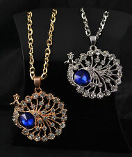 """27"""" GOLD OR SILVER TONE CHAIN PEACOCK CHARM CLEAR RHINESTONE CRYSTALS"""