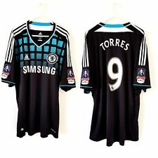 Chelsea Torres FA Cup Away Shirt 2011. Large. Adidas. Black Adults Football Top.