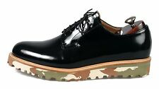 HANDMADE Men's Leather Oxfords Derby Plain Toe Blucher Black Casual Shoes