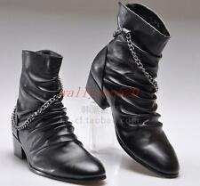 Mens high top casual dress punk rock cowboy pointed toe zipper short ankle boots