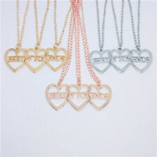 3 Pcs Fashion Heart Stitching Love Couple Pendant Necklace Chain Jewelry Gifts