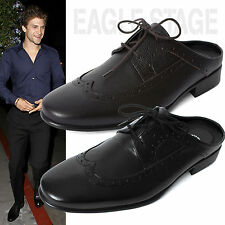 EagleStage Mens Leather Mule Slippers Wingtip Oxford Dress Shoes Size 6 7 8 9 10