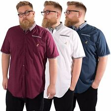 Kangol Mens Plus Size Short Sleeve Shirt Button Down Collared Casual Cotton Top