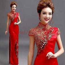 Retro Chinese Cheongsam Florals Wedding Long Dress Ball Gown Embroidery