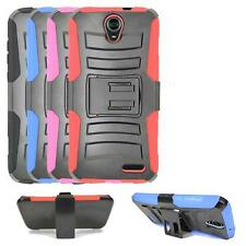 Phone Case For ZTE Warp 7, Dual Layer Holster Belt Clip Cover Stand