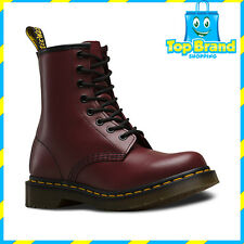 Dr Martens 1460 8 Up Cherry Red Smooth Leather Unisex Boots Shoes New