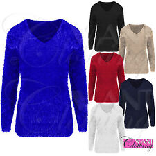 WOMEN FLUFFY SOFT KNIT V NECK JUMPER LADIES MOHAIR EYELASH FUR LOOK SWEATER TOP