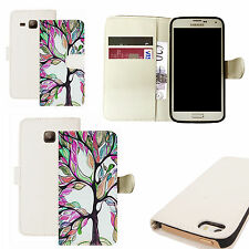 pu leather wallet case for majority Mobile phones - purple bonsai white