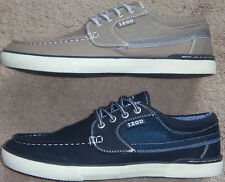 New Mens IZOD Orson Memory Foam Canvas Boat Shoes Grey or Navy Retail $65