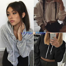 Sexy Womens Cropped Top Hoodie Long Sleeve Sweats Sweatshirt Pullover Blouse New